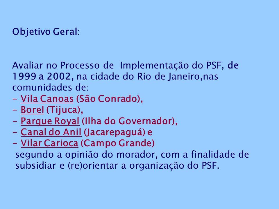 Objetivo Geral: Avaliar no Processo de Implementação do PSF, de 1999 a 2002, na cidade do Rio de Janeiro,nas comunidades de: - Vila Canoas (São Conrado), - Borel (Tijuca), - Parque Royal (Ilha do Governador), - Canal do Anil (Jacarepaguá) e - Vilar Carioca (Campo Grande) segundo a opinião do morador, com a finalidade de subsidiar e (re)orientar a organização do PSF.