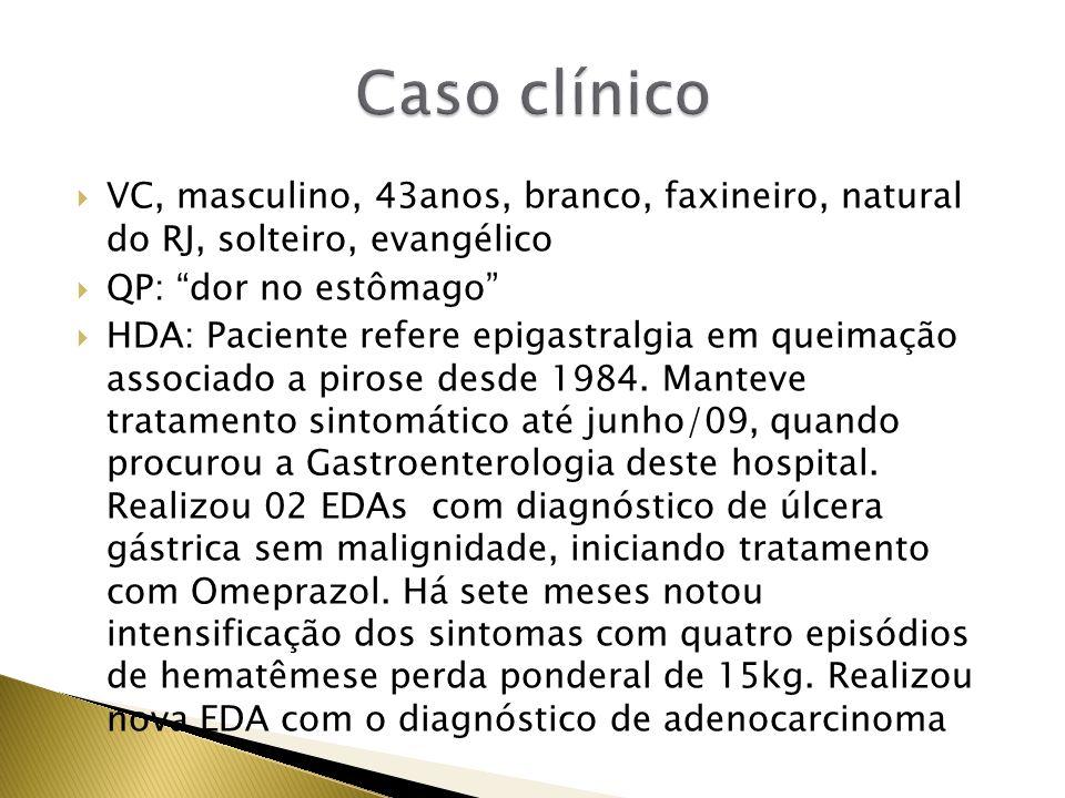 HPP: Nega HAS e DM.Nega alergias e cirurgias prévias HF: Pai faleceu aos 65anos de causa externa.