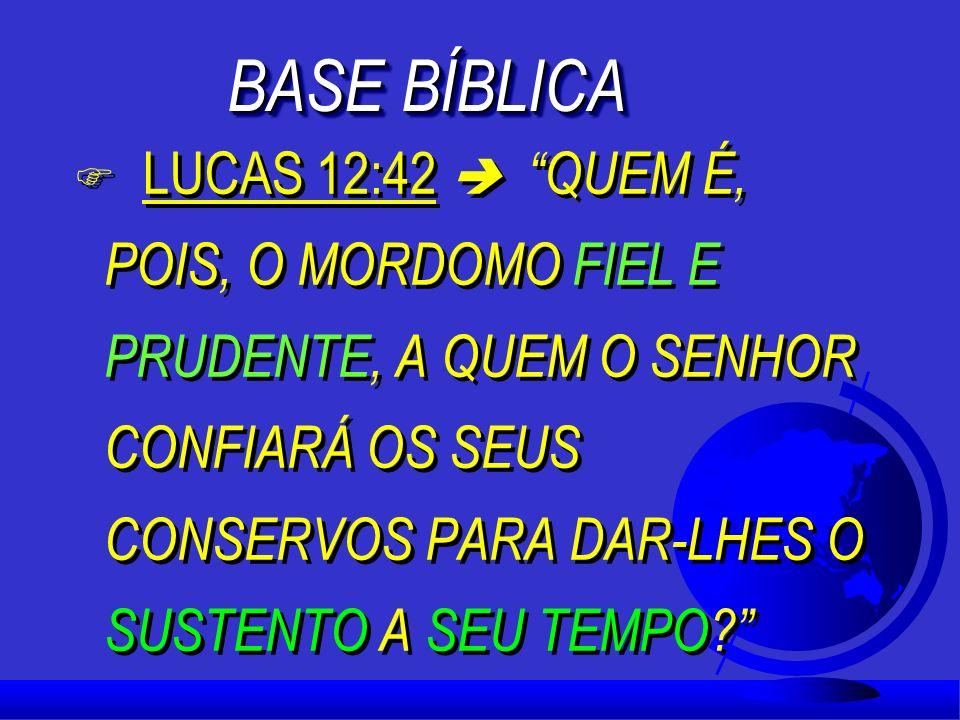 BASE BÍBLICA F LUCAS 12:42 QUEM É, POIS, O MORDOMO FIEL E PRUDENTE, A QUEM O SENHOR CONFIARÁ OS SEUS CONSERVOS PARA DAR-LHES O SUSTENTO A SEU TEMPO.