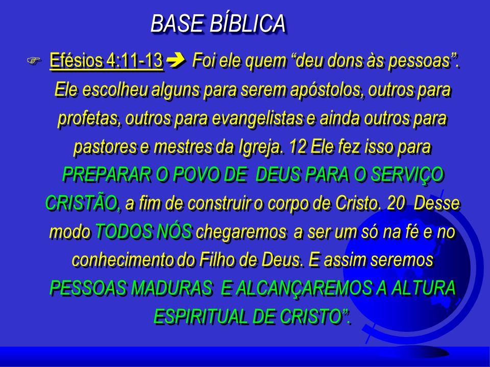 F Efésios 4:11-13 Foi ele quem deu dons às pessoas.