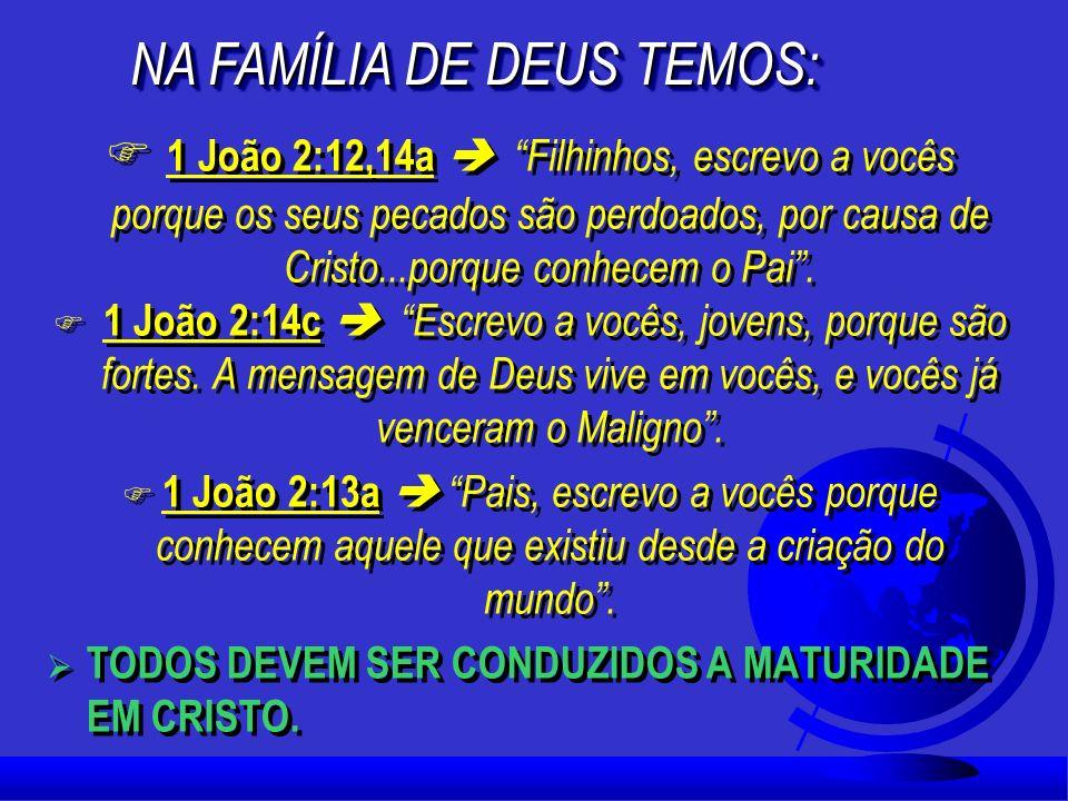 F 1 João 2:12,14a Filhinhos, escrevo a vocês porque os seus pecados são perdoados, por causa de Cristo...porque conhecem o Pai.