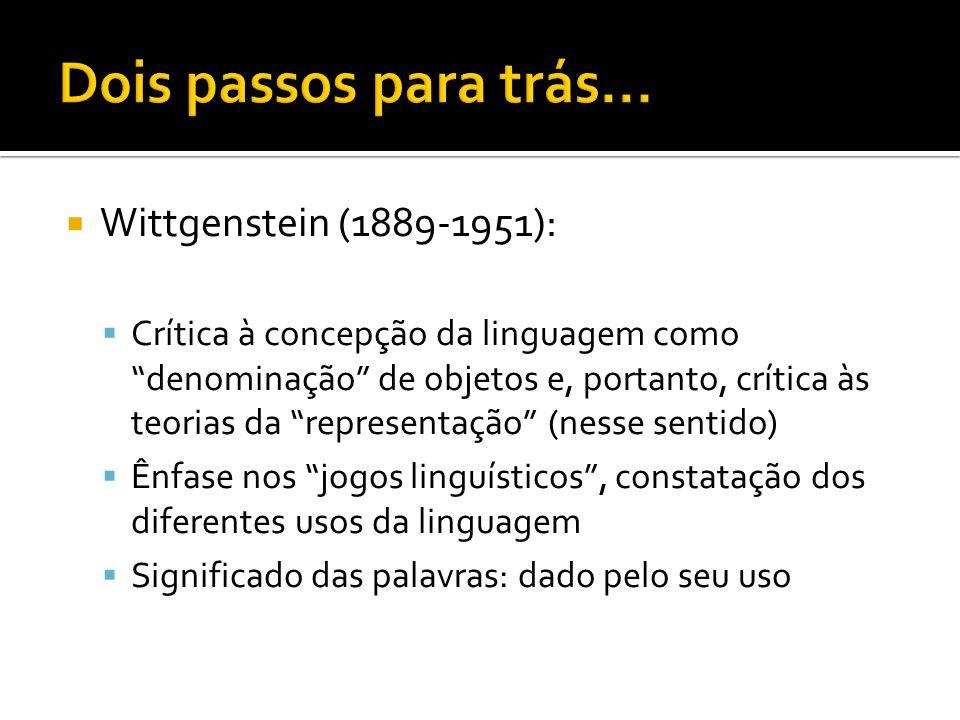 Austin (1911-1960) Observação da linguagem comum como ponto de partida da filosofia Linguagem comum como instrumento de análise e comparação para o filósofo enunciados indicativos (assertivos): um dos tipos de enunciados performativos
