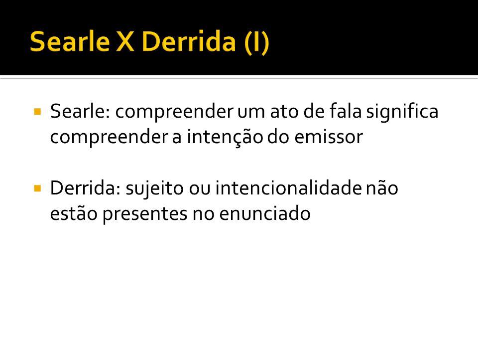 Base da argumentação de Searle: Derrida errou, interpretação equívoca de Austin; Derrida cita pseudo-exemplos para sustentar sua teoria
