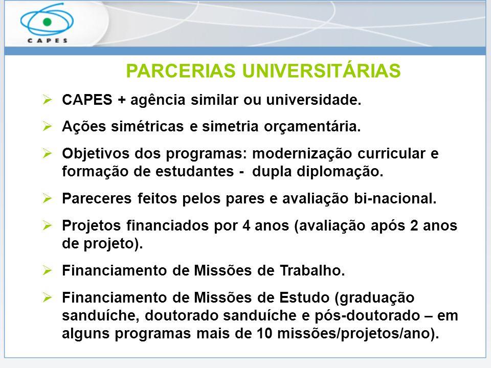 PARCERIAS UNIVERSITÁRIAS