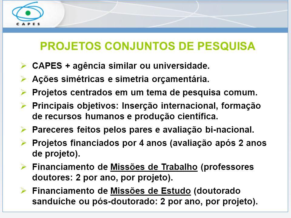 PROJETOS CONJUNTOS DE PESQUISA