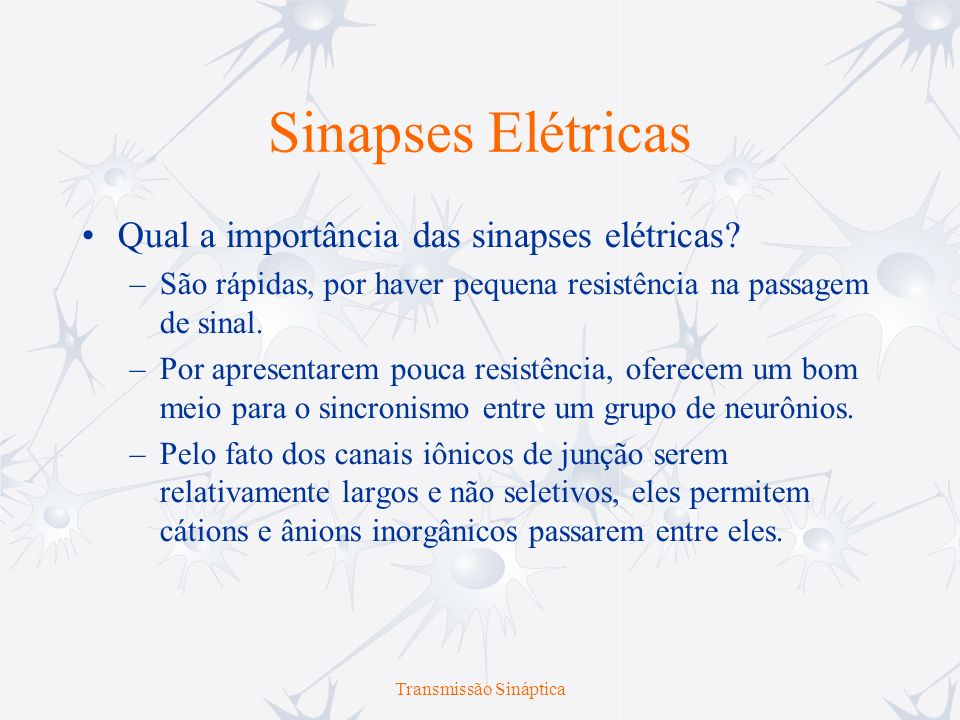 Transmissão Sináptica Sinapses Químicas Não existe uma continuidade estrutural entre as sinapses químicas.