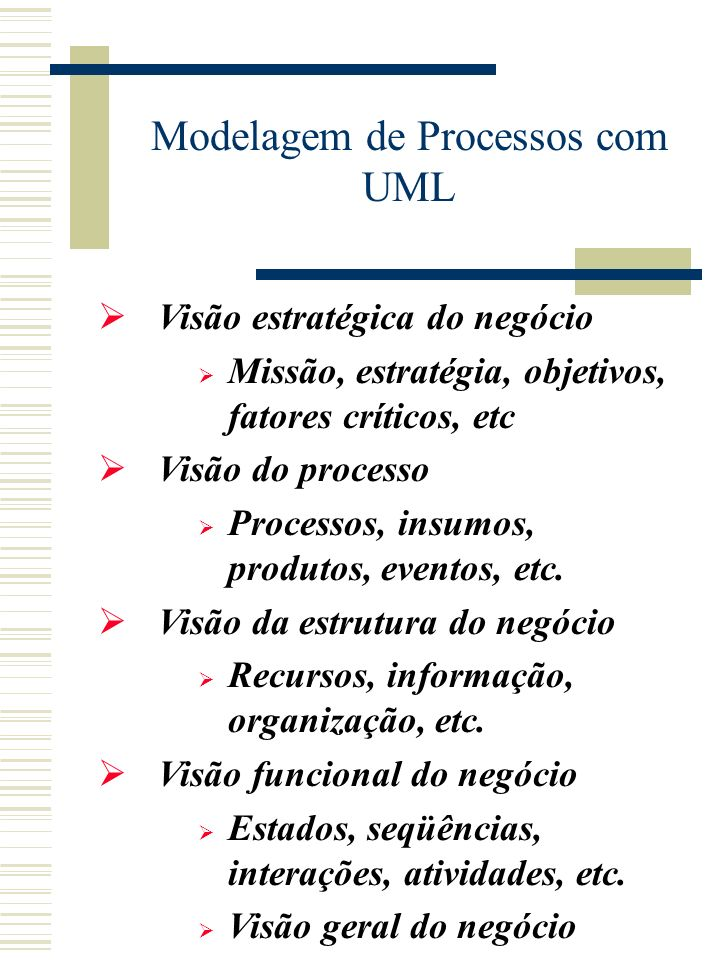 Visão estratégica do negócio Missão, estratégia, objetivos, fatores críticos, etc Visão do processo Processos, insumos, produtos, eventos, etc.