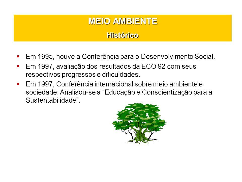 MEIO AMBIENTE Histórico Em 2005, Protocolo de Kioto no Japão onde quase 150 nações assinaram um termo de compromisso.
