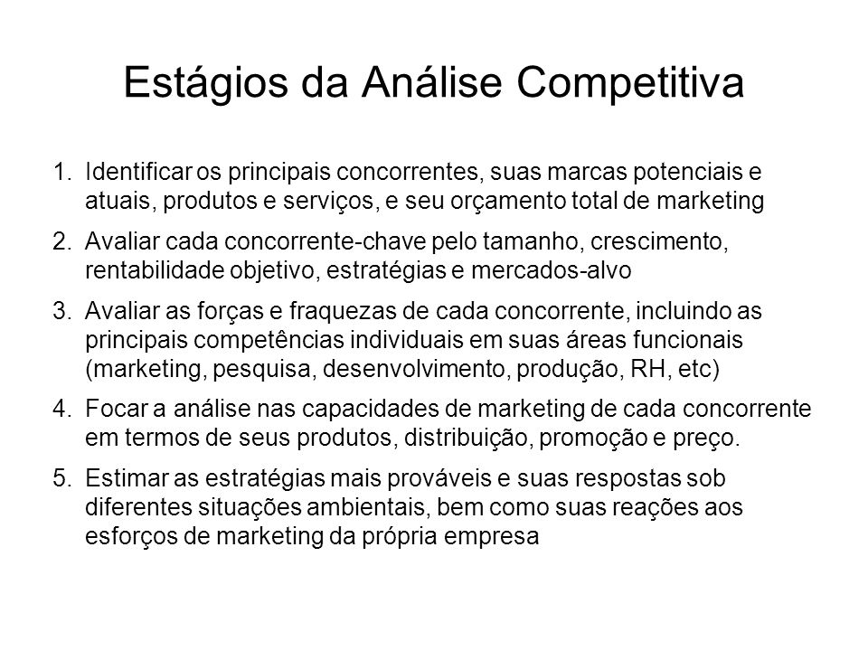 Configurações da Concorrência 1.Concorrência de Marca: –Produtos, preços e serviços similares que concorrem entre si.