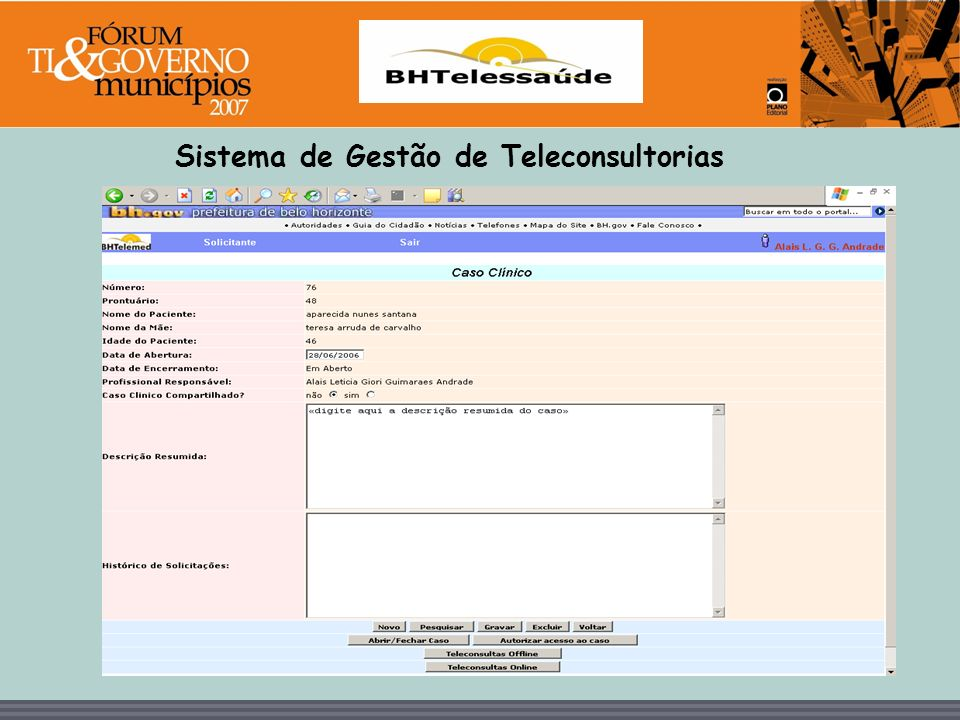 BHTelessaúde Sistema de Gestao de Teleconsultorias