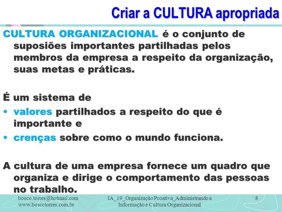 Cultura FORTE A culturas podem ser fortes e fracas.