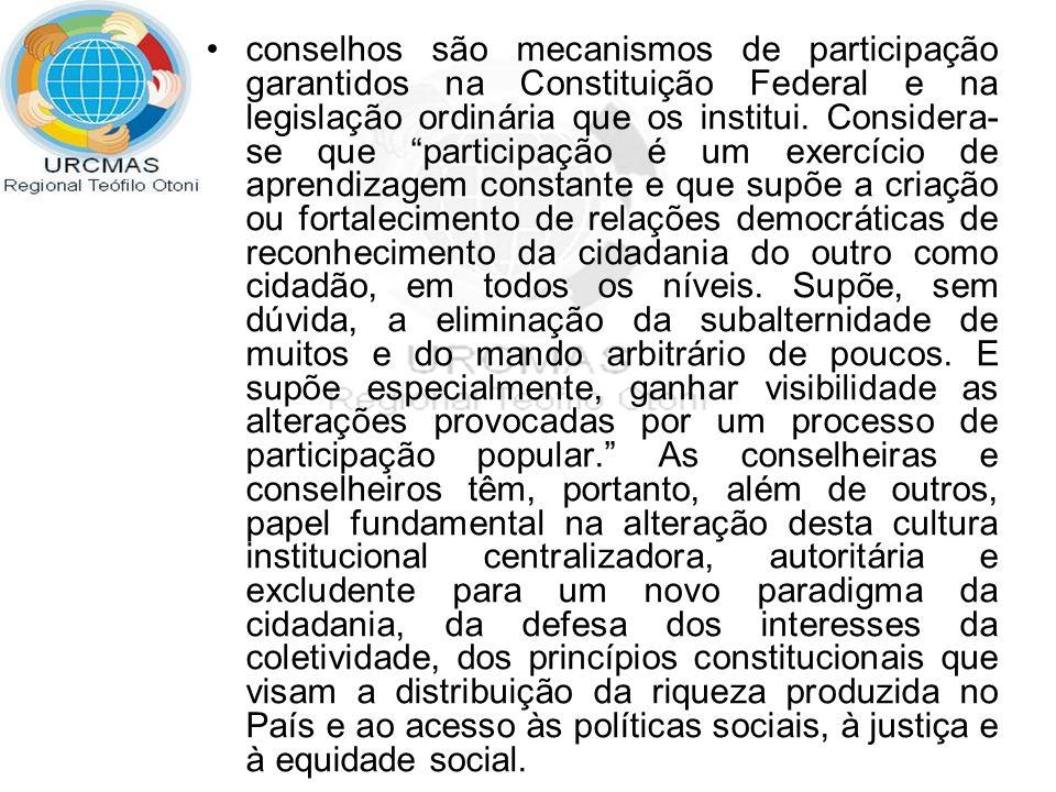 Para cumprir seu papel e atingir seus objetivos os conselheiros e as conselheiras devem, em sua prática, afirmar a defesa: Da democracia e do Estado Democrático de Direito.