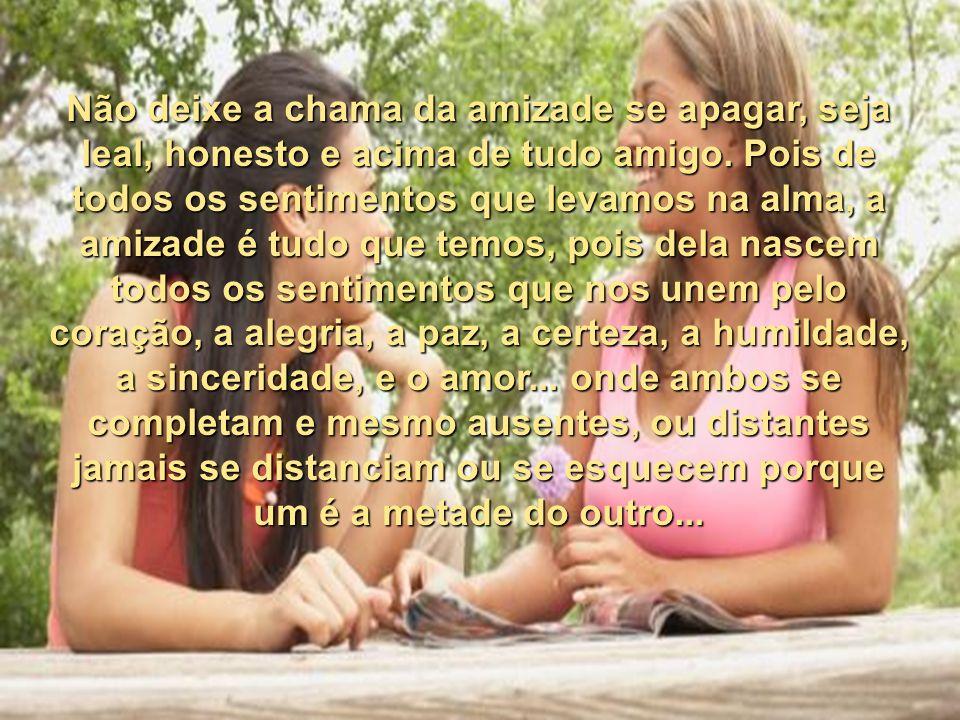 Não deixe a chama da amizade se apagar, seja leal, honesto e acima de tudo amigo.