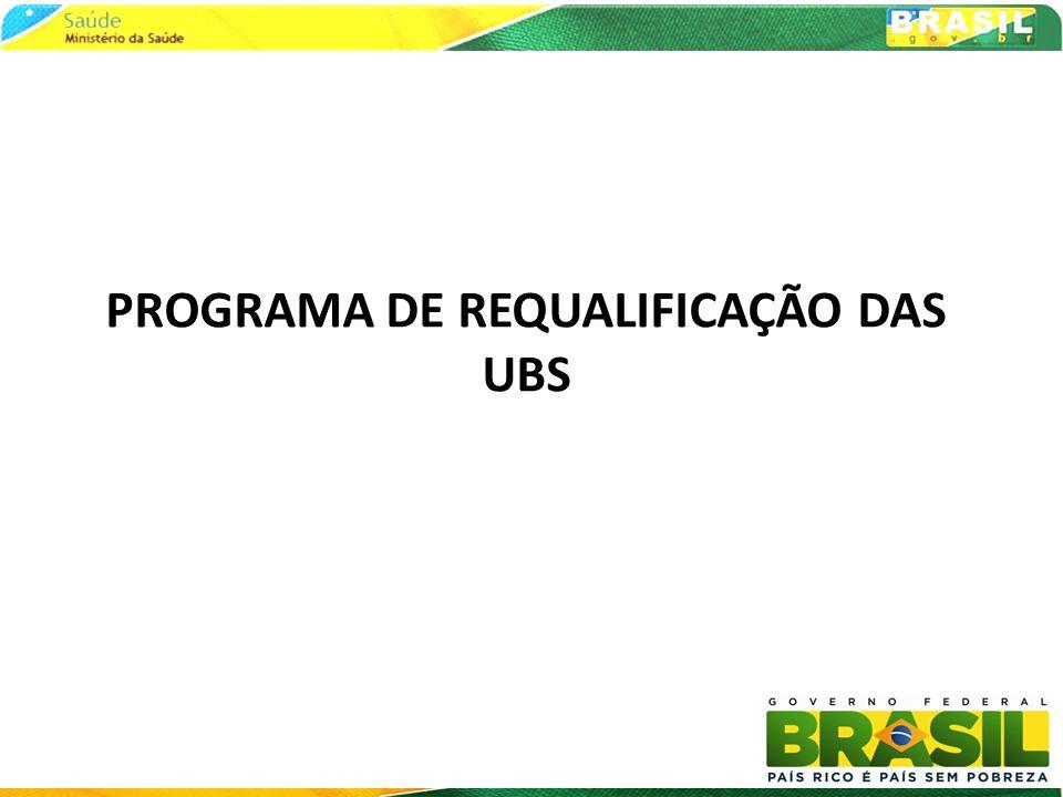PROGRAMA DE REQUALIFICAÇÃO DAS UNIDADES BÁSICAS DE SAÚDE o Diagnóstico Progressivo: o Pesquisa Amostral UFMG (realizada 2008) o Pesquisa de Assistência Médico Sanitária (AMS) IBGE (realizada em 2009) o Estimativa Rápida Ministério da Saúde o Programada para o mês de maio o Censo de todas UBS do Brasil o Contratação e preparação em maio e junho o Realização, por Etapas, nos meses de julho, agosto e setembro o Programa de Requalificação das UBS 39