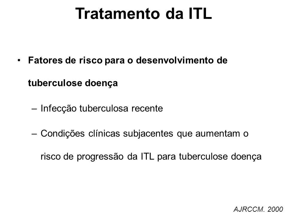 Infecção tuberculosa recente –Contatos próximos de tuberculose infecciosa –Conversão recente do PPD (<2anos) risco de 4-5% de TB ativa –Crianças < 5 anos, risco dobrado 40% de progressão em crianças < 12 meses –Residentes ou empregados de estabelecimento de alto risco (presídios, abrigos, etc…) –Imigração < 5anos de áreas de áreas endêmicas (CDC) Tratamento da ITL AJRCCM.