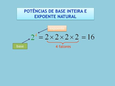 POTÊNCIAS DE BASE INTEIRA E EXPOENTE NATURAL
