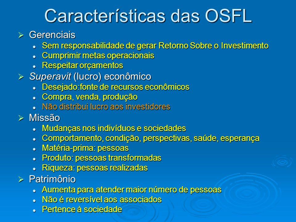 Características das OSFL Objetivos Institucionais Principais fontes de recursos financeiros e materiais Lucro Patrimônio / Resultados Aspectos Fiscias e Tributários Mensuração do Resultado Social Provocar mudanças sociais Doações, contribuições, subvenções e prestação de serviços comunitários.