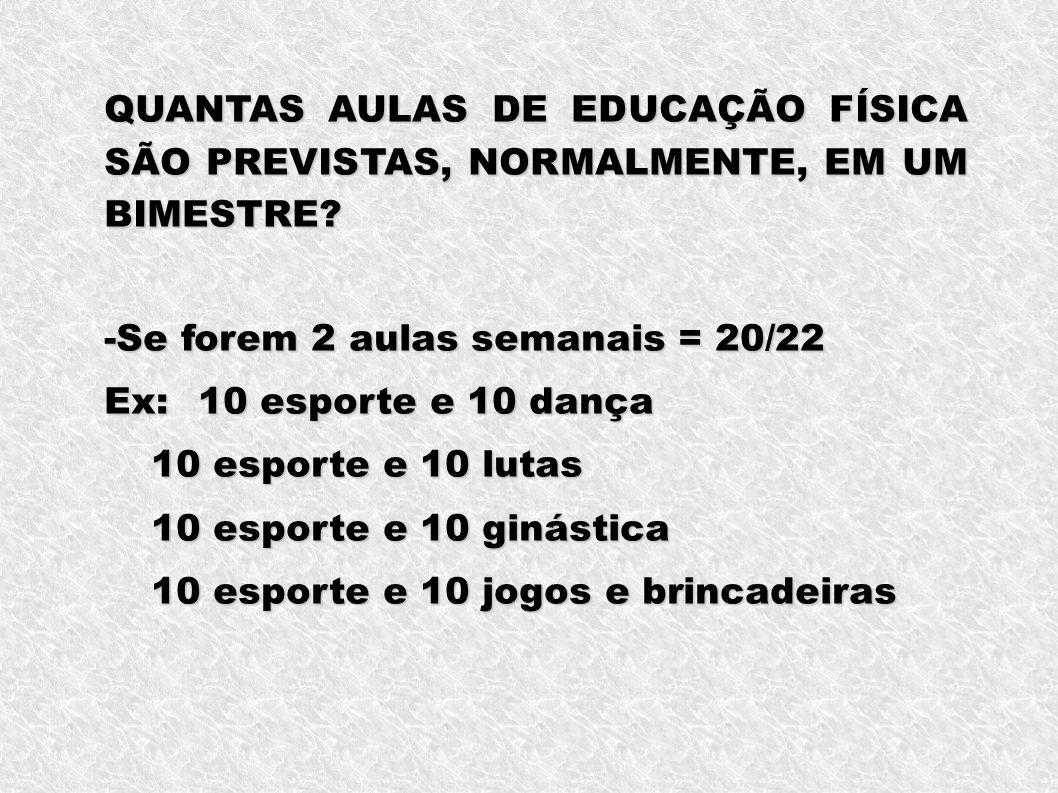QUANTAS AULAS DE EDUCAÇÃO FÍSICA SÃO PREVISTAS, NORMALMENTE, EM UM BIMESTRE.