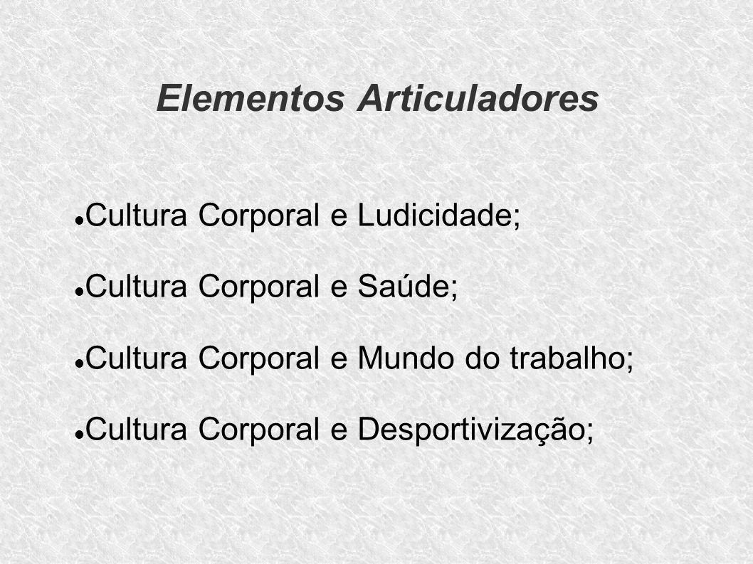 Elementos Articuladores Cultura Corporal - Tática e Técnica; Cultura Corporal e Lazer; Cultura Corporal e Corpo; Cultura Corporal e Diversidade; Cultura Corporal e Mídia.