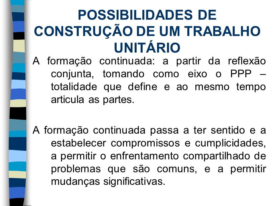 POSSIBILIDADES DE CONSTRUÇÃO DE UM TRABALHO UNITÁRIO Trabalhar de forma transdiciplinar: 1.