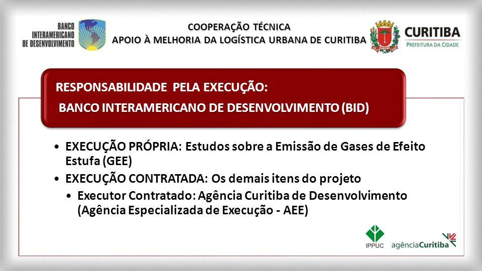 PREFEITURA MUNICIPAL DE CURITIBA Através do Instituto de Pesquisa e Planejamento Urbano de Curitiba (IPPUC) RESPONSABILIDADE PELA SUPERVISÃO,MONITORAMENTO E VALIDAÇÃO COOPERAÇÃO TÉCNICA APOIO À MELHORIA DA LOGÍSTICA URBANA DE CURITIBA