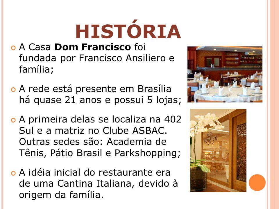 Mercado de Brasília carente de restaurantes que atendessem à necessidade dos clientes; O Dom Francisco precisava ser sofisticado, acessível, sem preços exorbitantes, além de ser um espaço de integração onde a família pudesse se reunir; Maior diferencial: cultura voltada para a alta qualidade em todos os aspectos; HISTÓRIA