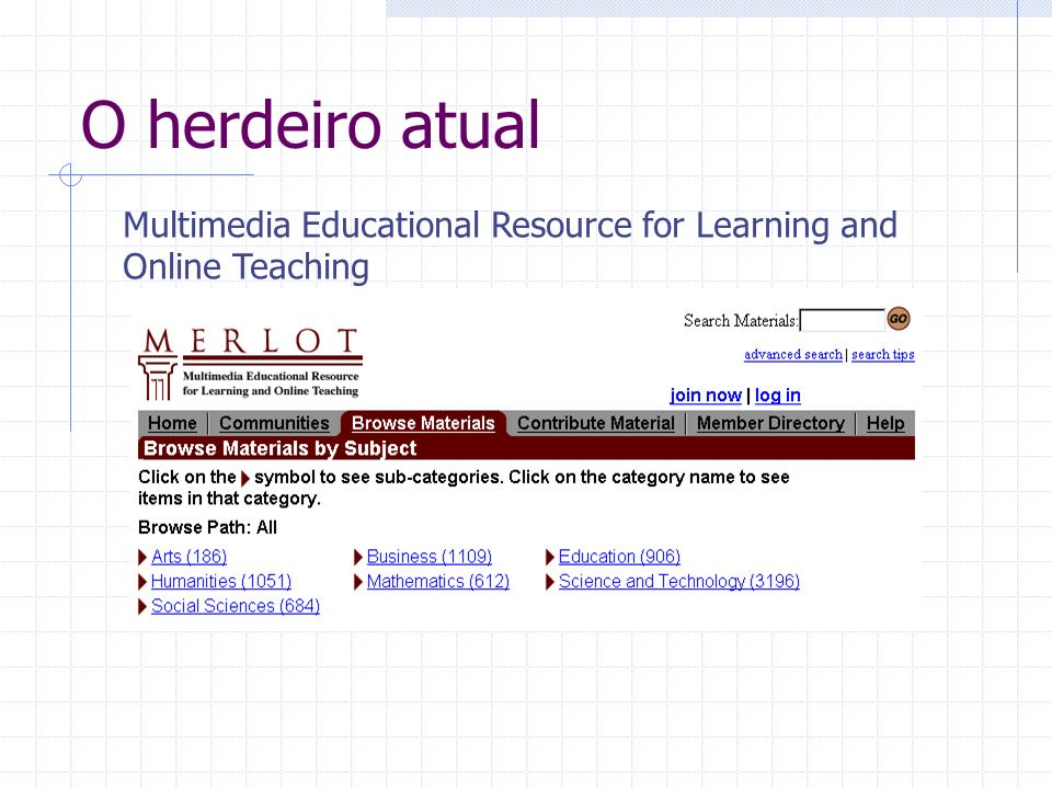Mais alguns parentes IEEE - Learning Object Metadata (LOM) Instructional Management System (IMS) Sharable Content Object Reference Model (SCORM) Ariadne, ESCOT, Canarie, …