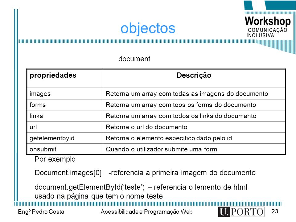 Engº Pedro CostaAcessibilidade e Programação Web 24 objectos MétodoDescrição write()Escreve no documento Writeln()Escreve uma linha no documento document Por exemplo Document.write(Este texto é escrito no documento);
