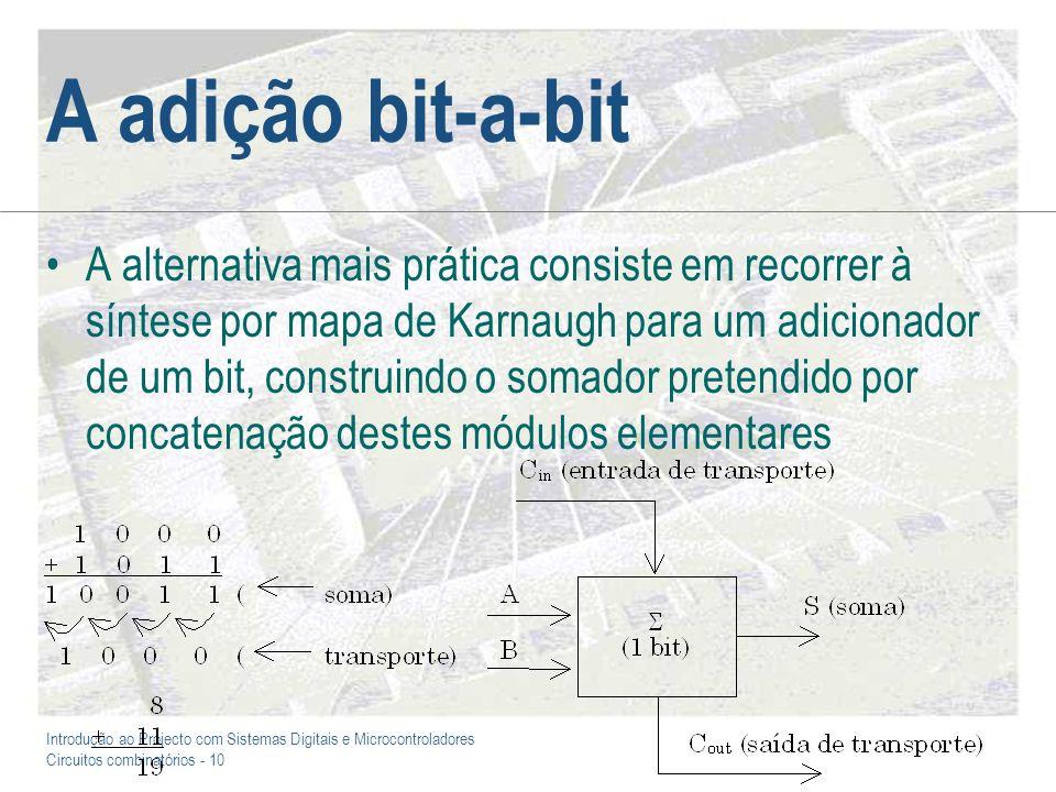 Introdução ao Projecto com Sistemas Digitais e Microcontroladores Circuitos combinatórios - 11 O somador de um bit
