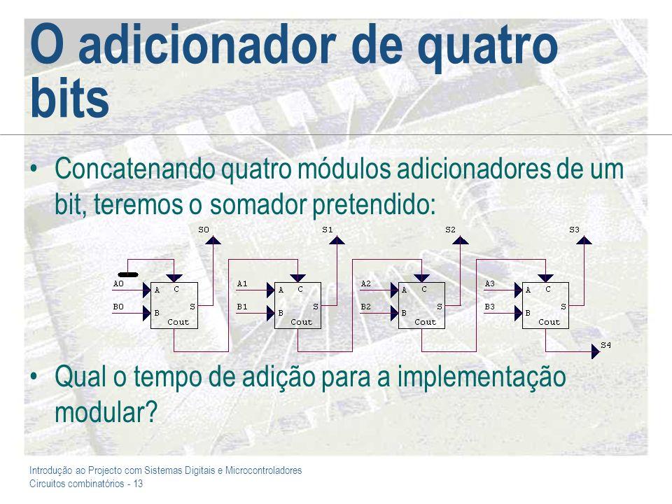 Introdução ao Projecto com Sistemas Digitais e Microcontroladores Circuitos combinatórios - 14 Um comparador de quatro bits As mesmas razões já invocadas para o adicionador de quatro bits inviabilizam a síntese directa do comparador de quatro bits