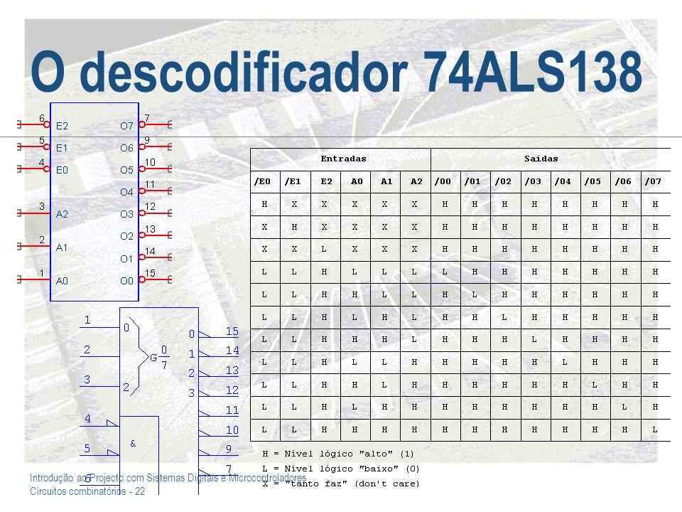 Introdução ao Projecto com Sistemas Digitais e Microcontroladores Circuitos combinatórios - 23 O multiplexador 74ALS151 I0 I1 I2 I3 I4 I5 I6 I7 Y /Y