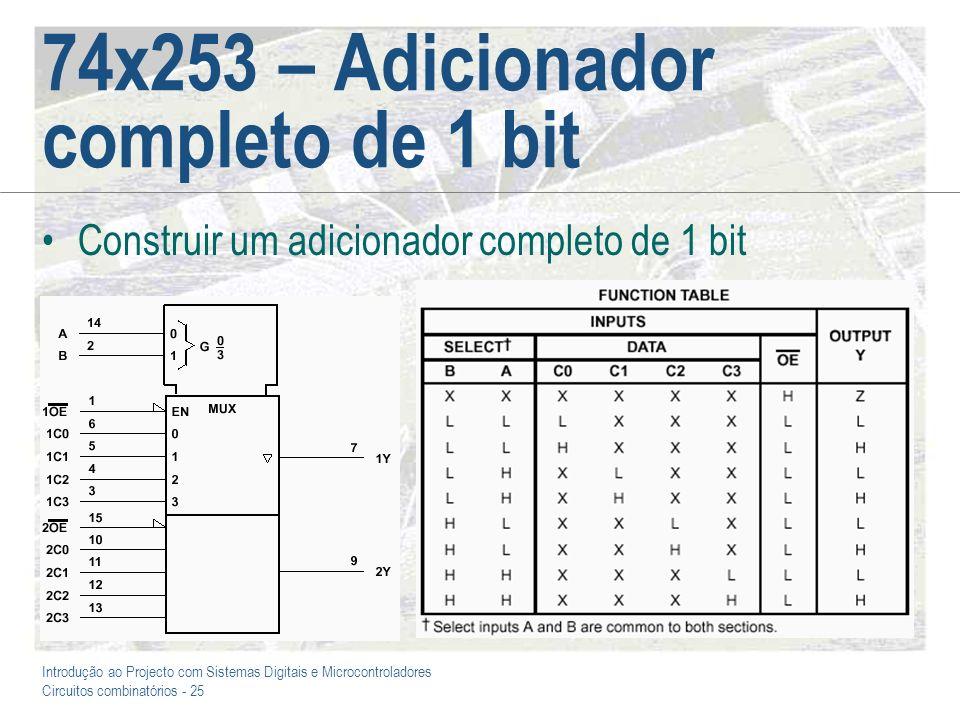 Introdução ao Projecto com Sistemas Digitais e Microcontroladores Circuitos combinatórios - 26 74x253 – Adicionador completo de 1 bit +5V 74LS253 6 5 4 3 10 11 12 13 14 2 1 15 7 9 1C0 1C1 1C2 1C3 2C0 2C1 2C2 2C3 A B 1G 2G 1Y 2Y XY S Cout Cin/Cin XCinYSCout 000 100 001 110 010 110 011 111 0 0 0 0 1 1 1 1 0 0 0 0 1 1 1 1
