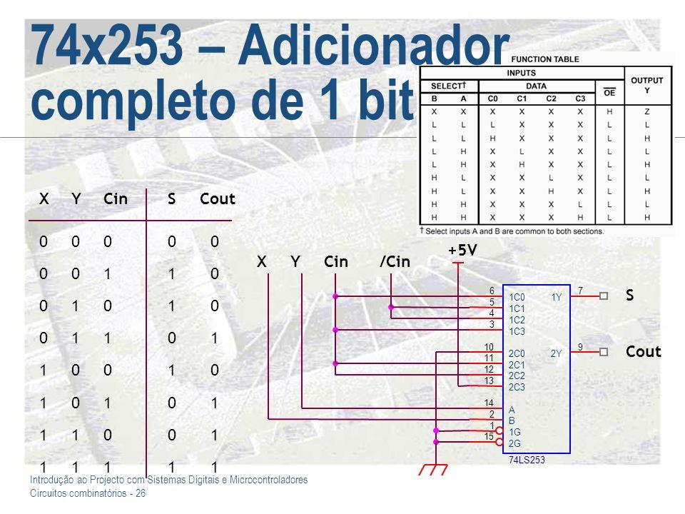 Introdução ao Projecto com Sistemas Digitais e Microcontroladores Circuitos combinatórios - 27 74x157 – Votador com três entradas Construir um circuito votador com três entradas e uma saída (que deve assumir o valor que for comum à maioria das entradas)