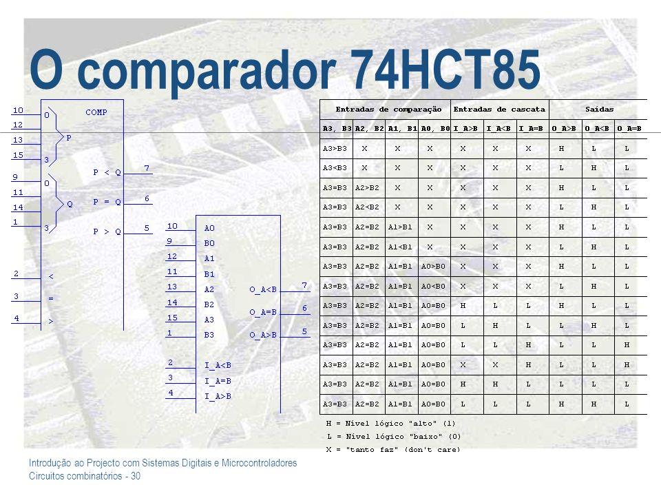 Introdução ao Projecto com Sistemas Digitais e Microcontroladores Circuitos combinatórios - 31 74HCT85 – Um comparador de 12 bits