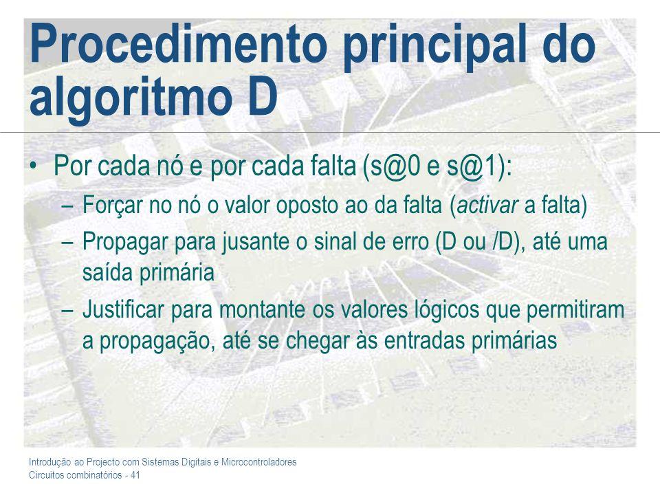 Introdução ao Projecto com Sistemas Digitais e Microcontroladores Circuitos combinatórios - 42 Exemplo: Detecção de uma falta s@0