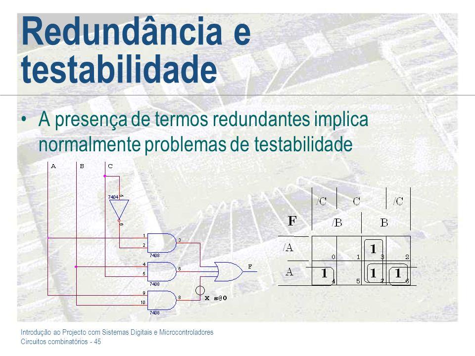 Introdução ao Projecto com Sistemas Digitais e Microcontroladores Circuitos combinatórios - 46 Redundância para corrigir a resposta temporal A presença de redundância, no entanto, pode impedir a ocorrência de impulsos extemporâneos nas saídas