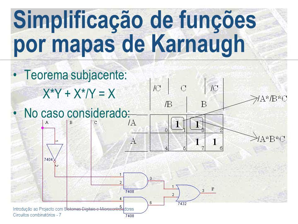 Introdução ao Projecto com Sistemas Digitais e Microcontroladores Circuitos combinatórios - 8 /A* C/A*/B*/C + /A* B*/C = /A*/C Simplificação de funções por mapas de Karnaugh (2) /A*/B* C* D + /A*/B* C*/D = /A*/B* C /A* B* C* D + /A* B* C*/D = /A* B* C
