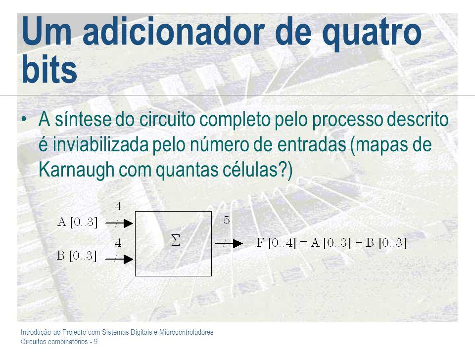Introdução ao Projecto com Sistemas Digitais e Microcontroladores Circuitos combinatórios - 10 A adição bit-a-bit A alternativa mais prática consiste em recorrer à síntese por mapa de Karnaugh para um adicionador de um bit, construindo o somador pretendido por concatenação destes módulos elementares