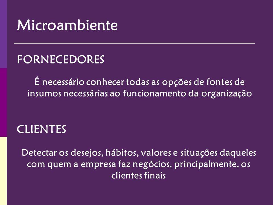 Microambiente Um competidor é qualquer entidade que ofereça aos clientes opções que diminuam a atração das opções oferecidas pela empresa.