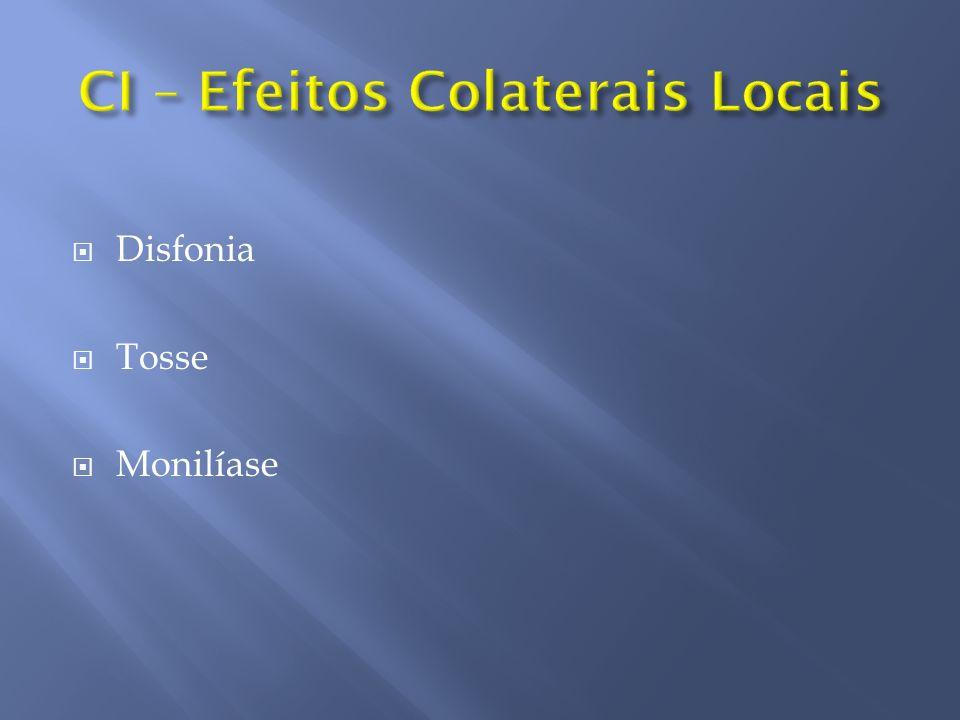Supressão Adrenal Alterações de pele Retardo do crescimento Osteoporose Catarata e Glaucoma Distúrbios GI, metabólicos e psiquiátricos HAS - DM