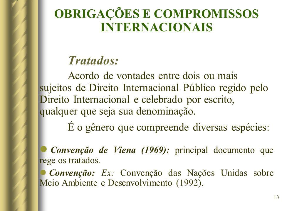 14 Principais Denominações: a)Acordo, ajuste: São os tratados aplicáveis em geral, às áreas comercial, tecnológica, cultural, etc.