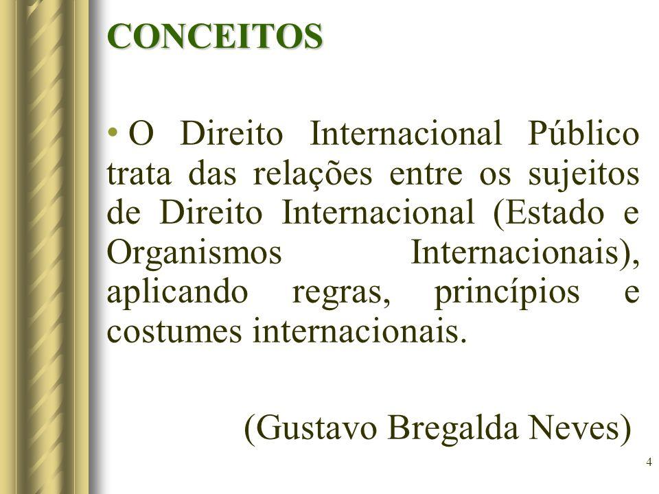 5 É o conjunto de normas jurídicas que regulam as relações mútuas dos Estados e, subsidiariamente, as das demais pessoas internacionais, como determinadas organizações, e dos indivíduos.