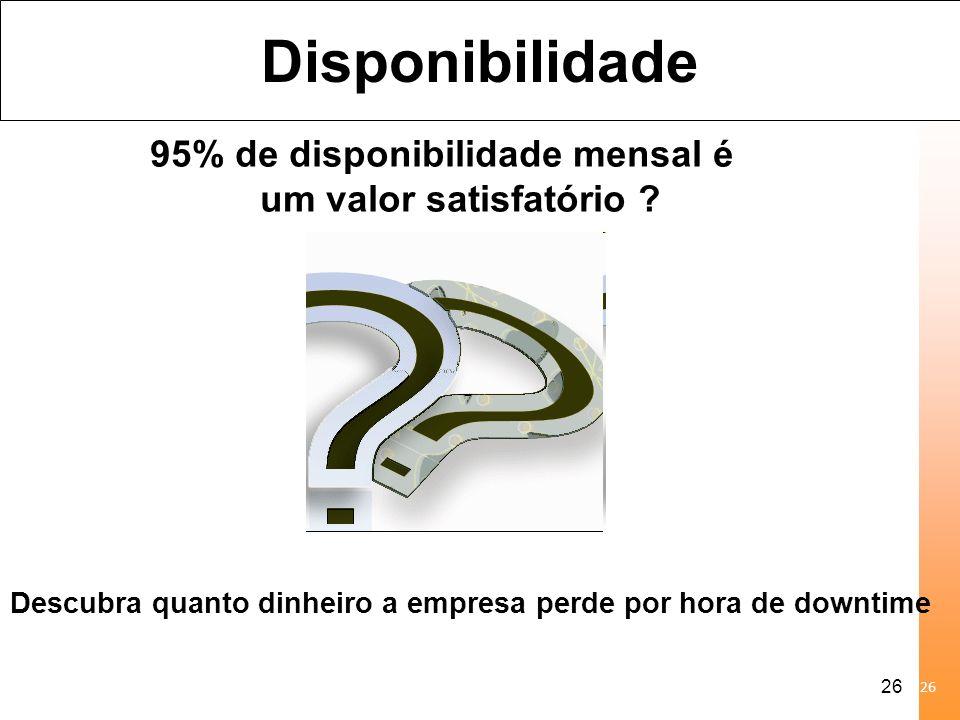 27 Disponibilidade 95% de disponibilidade corresponde a 2160 min ou 36 horas de interrupção por mês.