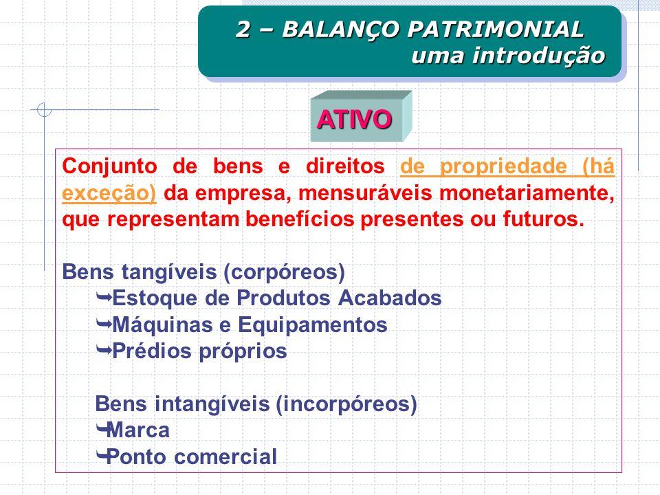 Conjunto de bens e direitos de propriedade (há exceção) da empresa, mensuráveis monetariamente, que representam benefícios presentes ou futuros.