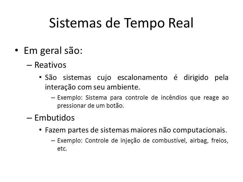 Sistemas de Tempo Real Classificação: – Sistemas de tempo real são classificados de acordo com o impacto gerado por uma falha ao atender seus requisitos de tempo.