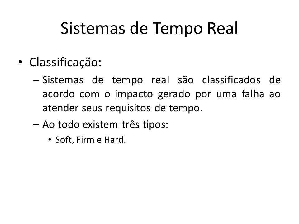 Sistemas de Tempo Real Soft real time – Sistema em que o desempenho é degradado mas não resulta em falhas, no caso de não atendimento de suas restrições de tempo.