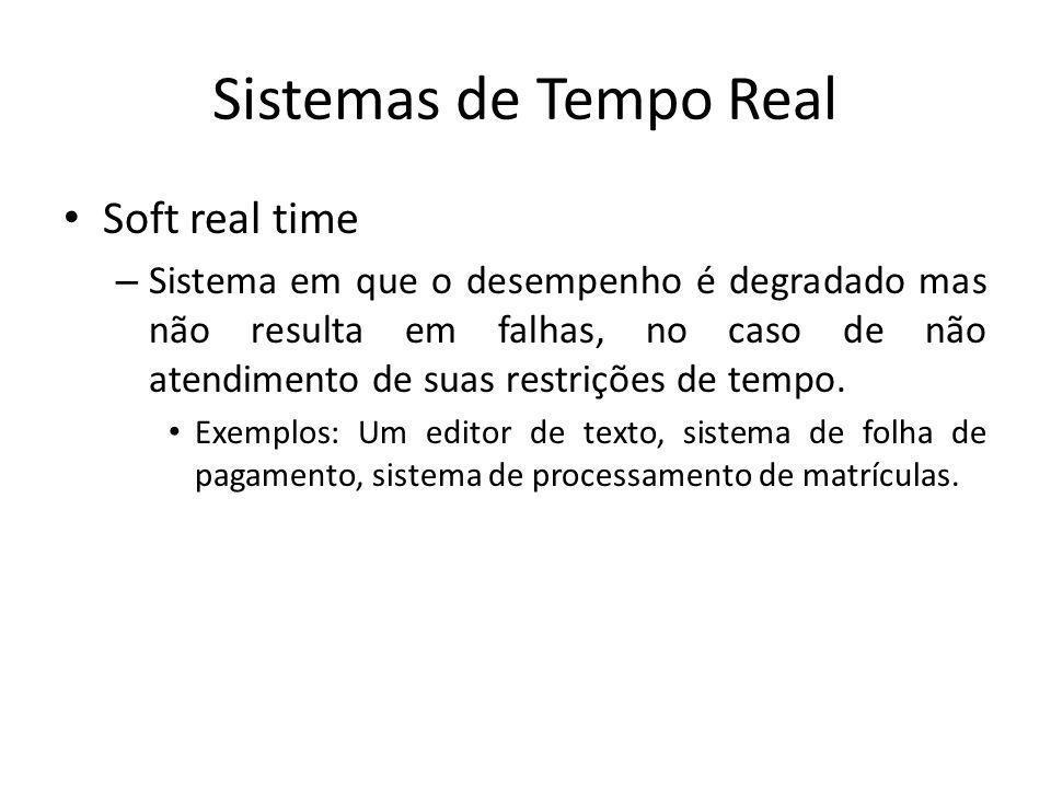 Sistemas de Tempo Real Hard real time – Sistema em que uma falha relacionada a um único deadline pode provocar falhas completas do sistema ou até mesmo catástrofes.