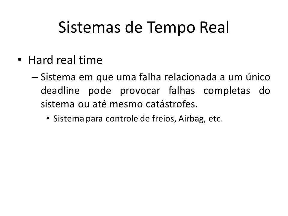 Sistemas de Tempo Real Firm Real Time – Sistema em que a perda de poucos deadlines não provocam falha total, no entanto, a perda de uma quantidade muito grande podem provocar falhas completa do sistema ou até mesmo catástrofes.