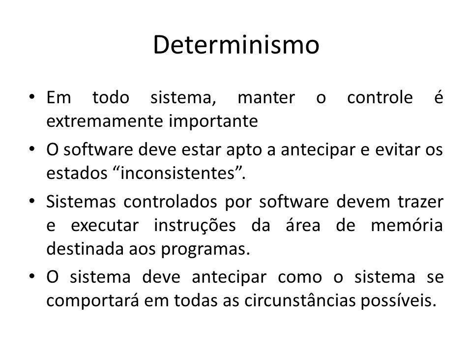 Determinismo Sistema Determinístico – Um sistema é determinístico se, para cada possível estado e cada conjunto de entradas, um único conjunto de saídas e o próximo estado do sistema podem ser determinados.