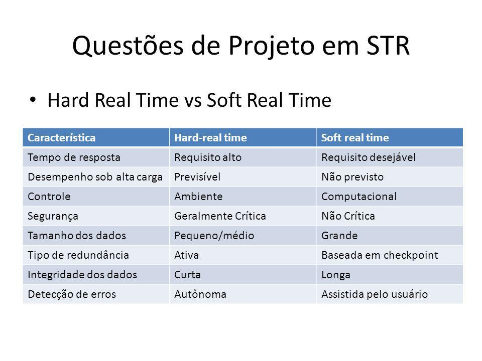 Questões de Projeto em STR Falha-seguro vs Falha-Operacional – Em sistemas do tipo falha-seguro, o STR ao falhar entra em um estado seguro.
